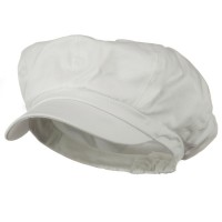 Newsboy - White Big Size Cotton Newsboy Hat