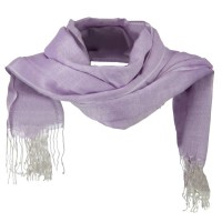 Scarf, Shawl - Purple Cotton Linen Blend Long Scarf