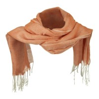 Scarf, Shawl - Orange Cotton Linen Blend Long Scarf
