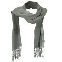 Scarf, Shawl - Grey Solid Viscose Long Scarf