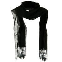 Scarf, Shawl - Black Solid Viscose Long Scarf