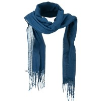Scarf, Shawl - Blue Solid Viscose Long Scarf