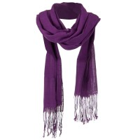 Scarf, Shawl - Purple Solid Viscose Long Scarf
