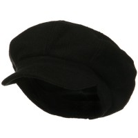 Newsboy - Black Big Size Wool Newsboy Cap