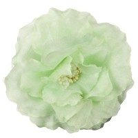 Green Organza Silk Sheer Flower with Pin and Clip: Flower Pin