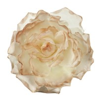 Pin , Badge - Taupe Large Open Rose Silk Clip Pin