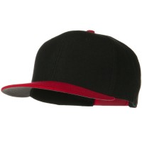 Ball Cap - Red Black Wool Flat Visor Snapback Cap