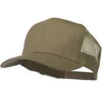 Ball Cap - Khaki Solid Cotton Twill Mesh Prostyle Cap