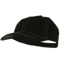 Ball Cap - Black White Contra Stitch Washed Polo Cap