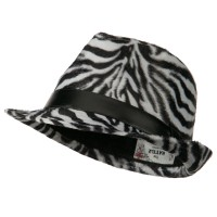 Fedora - Black Zebra Animal Design Fedora Hat