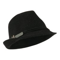 Fedora - Black Angora Fedora with Belt Buckle
