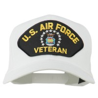 Embroidered Cap - White US Air Force Veteran Patch Cap