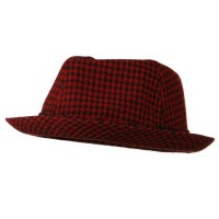 Fedora - Red Black Boy's Mini Herringbone Fedora