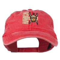 Embroidered Cap - Red Africa Mask Washed Cap