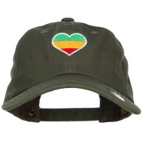 Embroidered Cap - Olive Rasta Heart Embroidered Cap