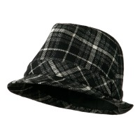 Fedora - Black Charcoal Women's Black Charcoal Plaid Fedora