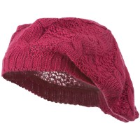 Beret - Fuchsia Big Cable Knitted Beret