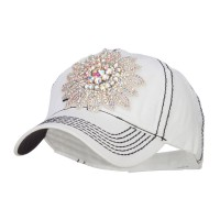 Ball Cap - White AB Stones Applique Ball Cap