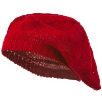 Beret - Red Big Cable Knitted Beret