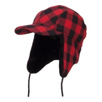 Trooper - Red Big Size Buffalo Plaid Hunter Cap