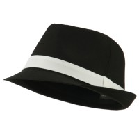 Fedora - Black White Basic Poly Woven Fedora Hats