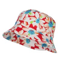 Bucket - Red Reversible Daisy Print Bucket Hat