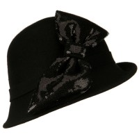 Bucket - Black Cloche with Big Sequin Bow