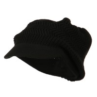 Beanie Visored - Black Rasta Plain Hat (ny 6)