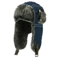 Trooper - Navy Chambray Faux Fur Trooper Hat