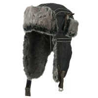Trooper - Black Chambray Faux Fur Trooper Hat