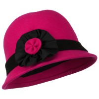 Dressy - Hot Pink Wool Felt Cloche with Flower Detail