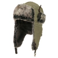 Trooper - Khaki Chambray Faux Fur Trooper Hat