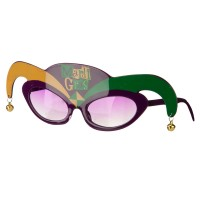 Face Mask - Green Mardi Gras Clown Glasses