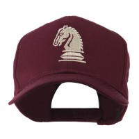 Embroidered Cap - Maroon Chess Knight Embroidery Cap