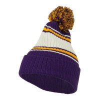 Beanie - Purple Gold Jacquard Striped Cuff Watch Cap