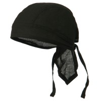 Wrap - Black Cotton Poplin Biker Head Wrap