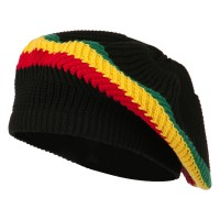 Beret - Black RGY Cotton Rasta Tam Beret