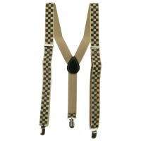 Belt , Buckle - Khaki Three Block Checker Suspenders