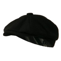 Newsboy - Black Wool Blend 8 Quarter Tie Lining Cap