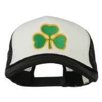 Embroidered Cap - White Black Clover St.Patrick's Day Big Size Cap