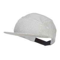 Ball Cap - Grey Striped 5 Panel Flat Bill Cap
