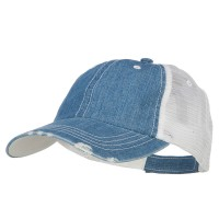 Ball Cap - Denim Blue 6 Panel Denim Frayed Mesh Cap