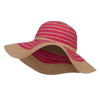 Dressy - Fuchsia Paper Braid Striped Floppy Hat