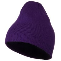 Beanie - Purple Decorative Ribbed Short Beanie