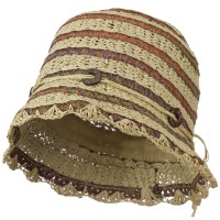 Bucket - Natural Toyo Cloche Hat with Swirl Detail