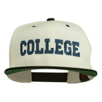 Embroidered Cap - Natural Black College Embroidered Snapback