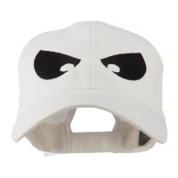 Embroidered Cap - White Huge Eyes Embroidered Cap