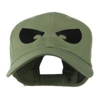 Embroidered Cap - Olive Huge Eyes Embroidered Cap
