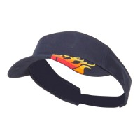 Visor - Navy Embroidered Flame Cotton Visor