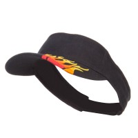 Visor - Black Embroidered Flame Cotton Visor